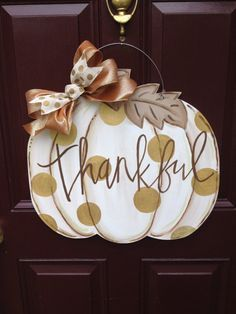 White pumpkin door hanger/Fall Door Hanger/Pumpkin Door Hanger/Gold Polka…