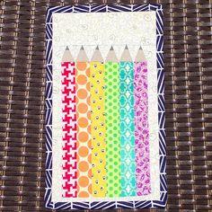 Rainbow pencil mug rug by Three Owls, via Flickr