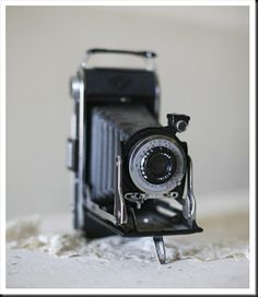 Old-fashioned camera wedding prop