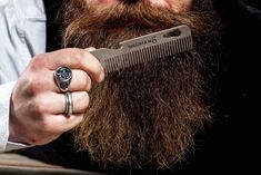 Stainless steel beard comb and multitool. Simple and clean Bald With Beard, Red Beard, Full Beard, Beard Styles For Men, Hair And Beard Styles, Cigar Accessories, Beard Care, Unique Photo, Bearded Men