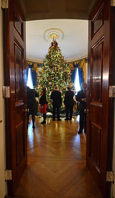 Although there were Christmas trees virtually everywhere, this is the official White House Christmas tree, in the Blue Room.