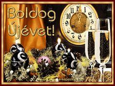 Újévi képeslap, az újév kezdetét jelző órával, buborékos pezsgővel, ünnepi díszekkel. Decor, Google, Pretty, Decorating, Dekoration, Deco, Decorations, Deck, Decoration