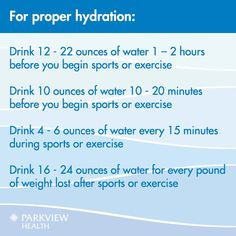 A timeline for proper hydration for athletes and weekend warriors | via @ParkviewHealth #water
