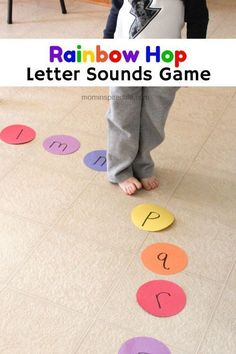 Great idea to learn AND get the kids moving Rainbow Hop Letter Sounds Alphabet Game. Practice letter sounds with this fun literacy learning activity! E Learning, Learning The Alphabet, Toddler Learning, Alphabet Learning Games, Preschool Learning Games, Alphabet Games For Preschoolers, Learning To Read Games, Preschool Science, Preschool Crafts