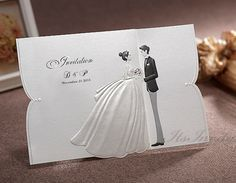 Custom Black and White Wedding Invitations Bride and Groom / Dress and Tuxedo GA9070 - Free Envelopes Silver Seals - Free Shipping Promotion