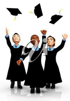 Graduation Clipart - Graduates Throwing Caps into the Air