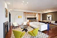 By FORMWORK Architecture_ Playful colors and textures create energy for this lounge-friendly open plan apartment. formworkusa.com Open Plan Apartment, Lounge, Architecture, Table, Furniture, Create, Colors, Home Decor, Airport Lounge