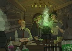 "Potions Class  or alternate title ""Hermione does all the work while Harry pretends to try and Ron gives up"" by emmilinne"