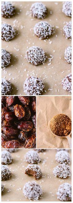 Raw cacao macaroons: raw almonds, unsweetened shredded coconut, cacao powder, Himalayan salt & Medjool dates.