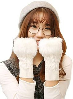 Womens Fingerless Design Thumb Hole Knitted Gloves >>> Click on the image for additional details.