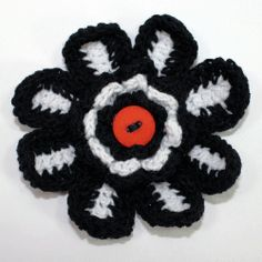 Halloween Crochet Flower Fridge Magnet Tutorial
