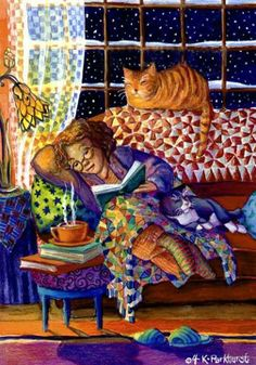 Reading and resting with the cats.