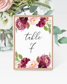 Printable Table Number Template, Instant Download, Editable Table Numbers, Boho Table Seating Card, Fully Editable, Instant Download