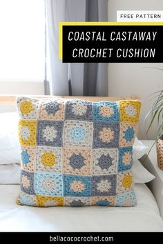 Add some seaside vibes to your home with this cool coastal crochet cushion. Made from simple granny squares this cushion is a quick crochet project suitable for all abilities. Get the FREE pattern from Bella Coco Crochet now.