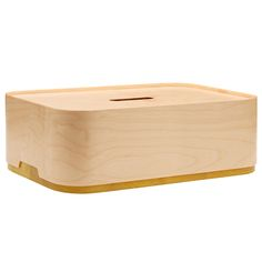 Plywood/yellow Vakka box by Iittala.