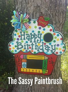 Your place to buy and sell all things handmade Wooden Door Signs, Wooden Door Hangers, Wooden Doors, Birthday Door, Teacher Birthday, Happy Birthday, Teacher Door Hangers, Teacher Doors, Teacher Wreaths