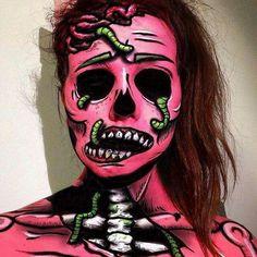 💗🧟♀️💗 #zombie #makeup Zombie Face Makeup, Zombie Face Paint, Pop Art Zombie, Creepy Makeup, Pop Art Makeup, Face Paint Makeup, Maquillage Halloween, Halloween Makeup, Halloween Halloween