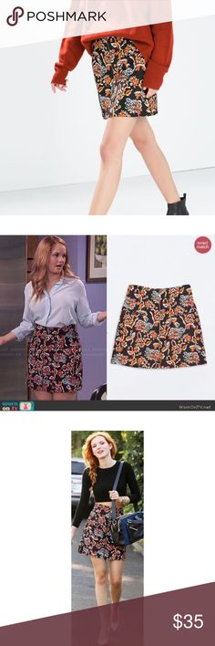 Zara Woman Floral Printed Front Zip Skirt Stunning skirt, seen on TV and Belle Thorne💗 Size large. New without tags! Zara Skirts A-Line or Full