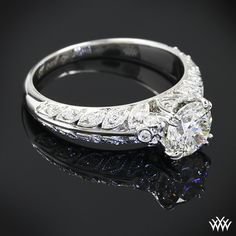 Swoon for these Platinum petals - hand engraved custom diamond ring
