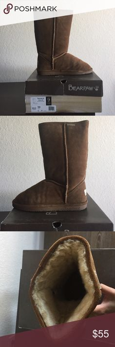 Women's Bearpaw Emma Tail Hickory/Champange Boot Women's Bearpaw calf boot. Outer boot is made of suede cow leather with a sheepskin lining to keep you warm throughout the winter or if you're like me who's from Florida they're still great for those chilly days. Very soft and comfortable. Have been sprayed with a suede protector to prevent water and mud damage. Still in original box. BearPaw Shoes Winter & Rain Boots