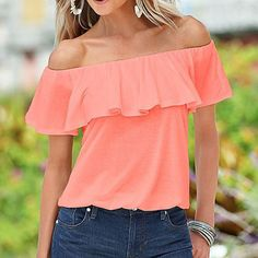 Short sleeve cold shoulder ruffle blouse. flattering style in your choice of colors. Machine washable. XS-0, S-2-4, M-6, L-8, XL-10, XXL-12, XXXL-14, 4XL-16