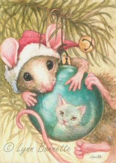 Art by Lynn Bonnette: December 2010 (christmas, mouse, mice, ornament, cat, tree, hat, bell, hanging)
