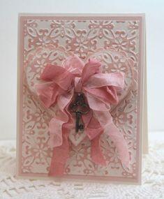 """Beautiful vintage alentine card """"Key to My Heart"""" created by Deb Saaranen using Spellbinders M-Bossabilities folder and heart die."""
