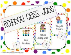Classroom Jobs!! Kids EditionUse some of them in your classroom, use all of them, pick and choose what you need. :) Jobs that are included: line leaders plant helper recycle monitor trash helper lunch box carrier pencil sharpener door holder lunch counter calendar helper librarian electrician messenger caboose technology expert weather monitor pet helper bathroom monitor teacher's assistant If you like the quality of my freebie, check out my store for some more freebies and other products…