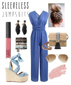 """""""sleeveless jumpsuit casual look"""" by bibila on Polyvore featuring Ralph Lauren, NARS Cosmetics, Stella & Dot, Ray-Ban and Jane Iredale"""