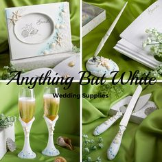 Take a look at this beautiful set for your beach themed wedding.