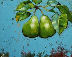 Pears painting 36 16x20 inch original still life fruit by RozArt, $170.00