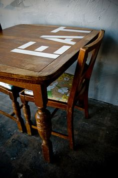 totally inspired by this... have to redo the table.  Maybe use stickers to spell out fun words then stain over them.  Take off the stickers before the last step/layer... hmmmm - could work.  DIY: before and after basics: stencil tricks