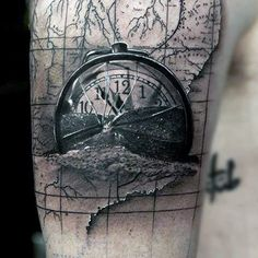 Mens Arms Realistic Clock Over A Map Tattoo