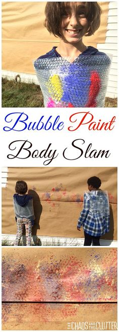 Wrap Body Slam Painting Bubble Paint Body Slam - My kids would love this!Bubble Paint Body Slam - My kids would love this! School Age Crafts, School Age Activities, Summer Camp Activities, Gross Motor Activities, Activities For Kids, Art School, Painting Activities, Indoor Activities, Sensory Art