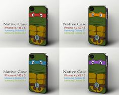 Teenage Mutant Ninja Turtles - iPhone 4 4s 5 case, hard plastic cover and soft rubber TPU, Galaxy S3, Galaxy S4 on Etsy, $12.95