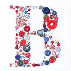 Personalised Boy Initial Button Letter Art