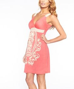 Love this Coral Scarf-Print Empire-Waist Dress on #zulily! #zulilyfinds