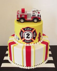 Little Fireman Birthday Cake Fireman Birthday Party Birthday Más Firefighter Birthday Cakes, Fireman Cake, Fireman Birthday, Fireman Party, Fire Fighter Cake, Birthday Cake Pinterest, 6th Birthday Parties, Fire Truck Birthday Party, 3rd Birthday
