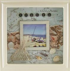 Photo Frame 20cm x 20cm SHADOW BOX BEACH Theme NEW - vacation photos matched to theme