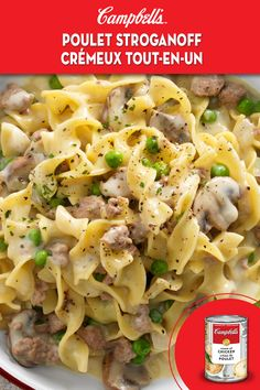 All-In-One Creamy Chicken Stroganoff Recipe Casserole Recipes, Pasta Recipes, Beef Recipes, Chicken Recipes, Cooking Recipes, Supper Recipes, Great Recipes, Campbells Soup Recipes, Pizza