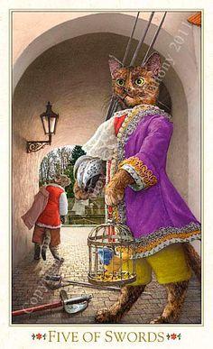 "5 d'épées - Tarot baroque ""les chats bohèmes"" par Karen Mahony & Alex Ukolov Animal Society, Cat Costumes, Baroque, Vintage Cat, Cat Memes, Cat Art, Pet Portraits, Cats And Kittens, Dog Cat"