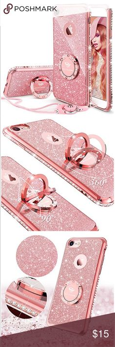 iPhone 6s Plus or 6 plus case iPhone 6s Plus and 6 plus Case, Glitter Cute Phone Case Girls with Kickstand, Bling Diamond Rhinestone Bumper with Ring Stand Thin Soft Protective Pink Apple iPhone 6+ for Girl Women - Rose Gold Accessories Phone Cases