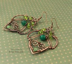 shades of green... copper wire earrings