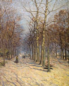 Helen McNicoll, The Avenue, c. 1912, oil on canvas, 97.1 x 79.4 cm, private collection, Vancouver. Although close to four decades separate this work from Claude Monet's Boulevard des Capucines, 1873–74, they share a similar approach to perspective, brushwork, and colour. #ArtCanInstitute #CanadianArt