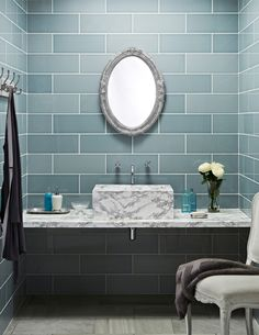 Favoured by interior designers, the Attingham range won Silver at the House Beautiful Awards in 2016. This unique 15x40cm pale teal ceramic tile features a gloss finish with a subtle surface effect allowing you to beautifully blend different tones together to inject personality into any space. Create a statement in your bathroom with a wall to floor design.