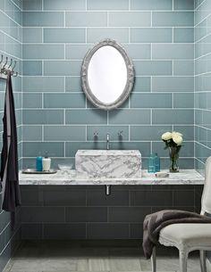 Bathroom wall tiles at Topps Tiles. Tiles Uk, Blue Tiles, Wall Tiles, Green Tiles, Brick Tiles, Mosaic Tiles, Bathroom Tiles Images, Bathroom Wall, Bathroom Ideas