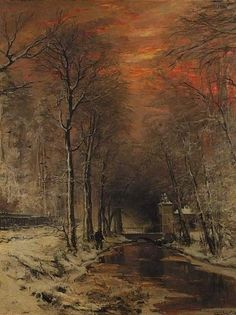 A tranquil winter forest at dusk, Louis Apol. Dutch (1850 - 1936)