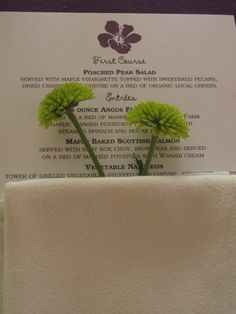 menu card with green mums in napkin