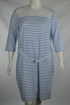 Ralph Lauren Plus Size 2X Pull Over Knit Dress Blue White Stripe Rope Belt Lace
