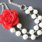 Red Rose Necklace Bridesmaid Jewelry Flower Necklace Pearl Jewelry White Bib Necklace on Etsy, $32.00